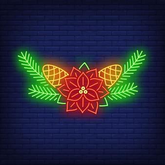 Kwiat poinsettia, igły i szyszki jodły neon znak