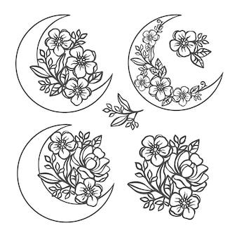 Kwiat półksiężyc monochromatyczna kolekcja z jaskier i róż wieńce i bukiety ażurowe kontury do druku kreskówka kwiatowy clipartów wektor zestaw ilustracji