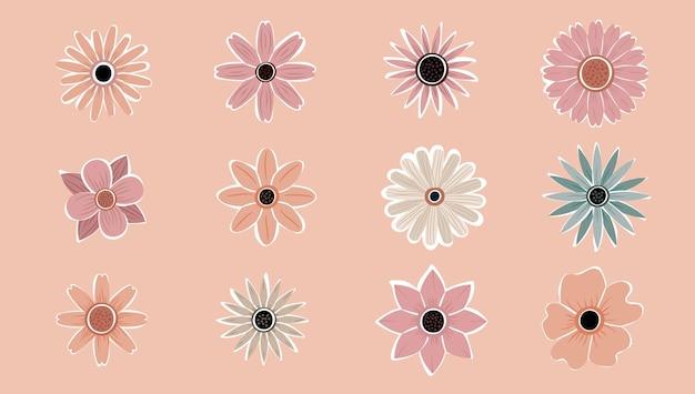 Kwiat prosty streszczenie ręcznie rysowane różne kształty polne kwiaty zestaw. botanical nature flowers obiektów współczesny nowoczesny modny wektor. kolekcja elementów ilustracji.
