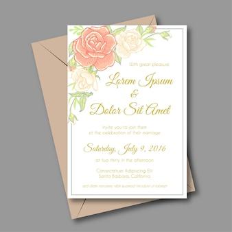 Kwiat róża miękki kolor zaproszenie ślubne wektor