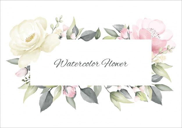 Kwiat róży akwarela różowy i biały kolor ramki