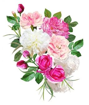 Kwiat róży i bukiet goździków