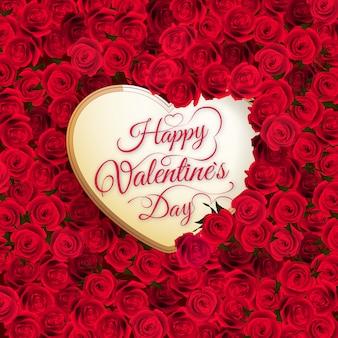 Kwiat róży i serce. szczęśliwych walentynek