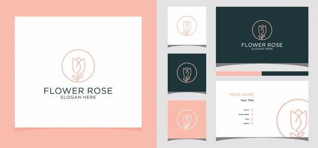 Kwiat róży logo z szablonu wizytówki