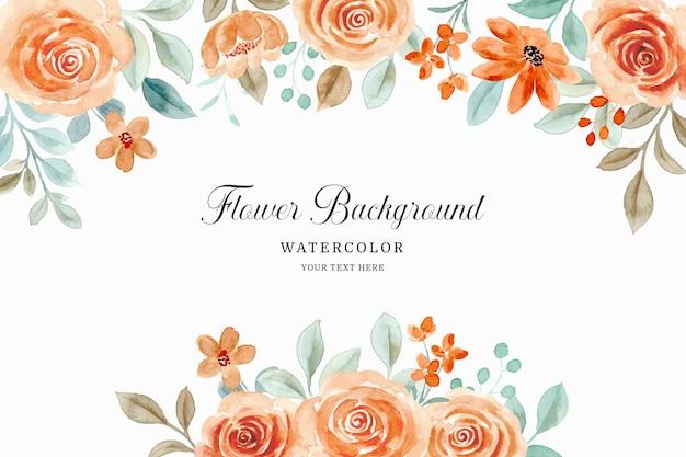 Kwiat róży tło z akwarelą