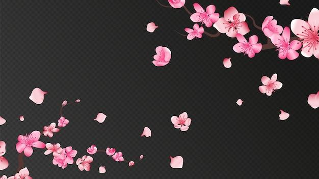 Kwiat sakury. spadające płatki, pojedyncze elementy kwiatowe. latająca realistyczna japońska morela lub różowa wiśnia spadają na romantyczną ścianę. sakura gałąź kwiat, ilustracja latające płatki