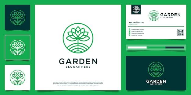 Kwiat streszczenie zarys projekt logo. logo i wizytówka organic nature garden.