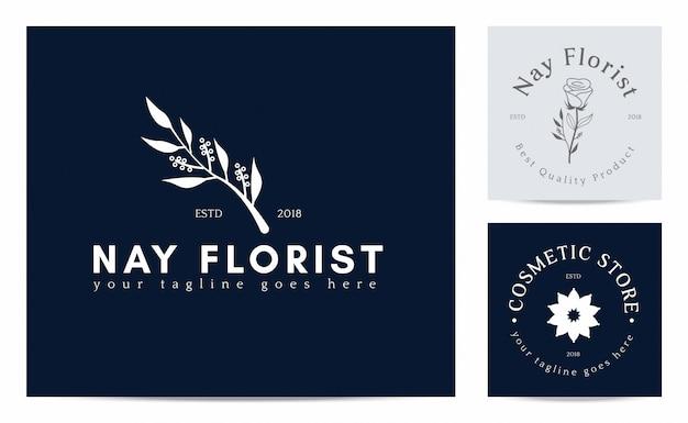 Kwiat sylwetka na szablonie logo kwiaciarni