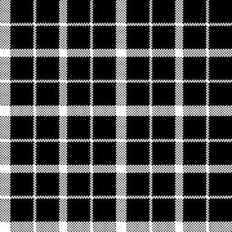Kwiat szkockiej kratownicy czerni piksla tkaniny tekstury bezszwowy wzór