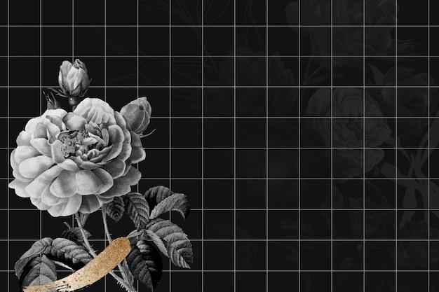 Kwiat tła ciemnej granicy wektor, zremiksowany z rocznika obrazów w domenie publicznej