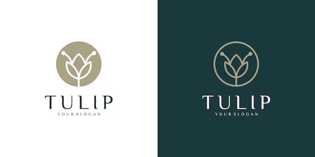 Kwiat tulip logo linii stylu sztuki i wizytówki