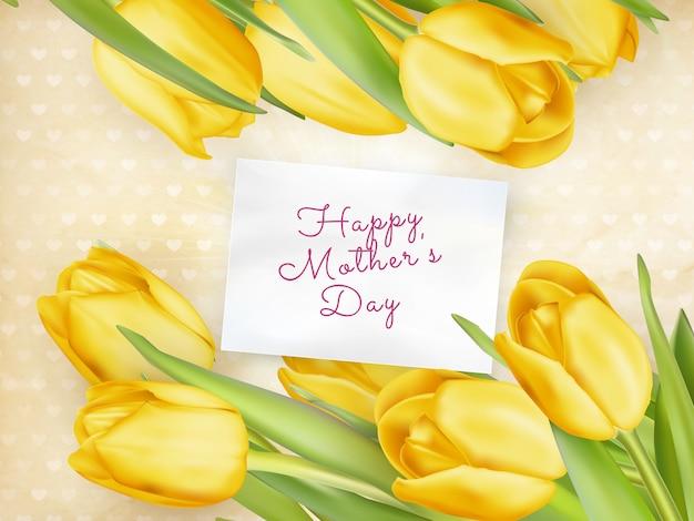 Kwiat tulipanów szczęśliwy dzień matki.