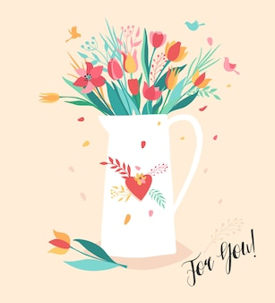Kwiat w dzbanku. bukiet kwiatów w białym ekspresie. ilustracja trendu na różowym tle.