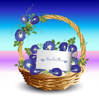 Kwiat w koszyku z kartą