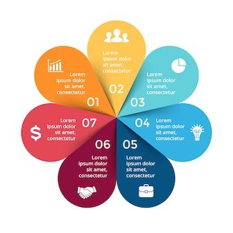 Kwiat wektor infografika szablon prezentacji koło diagram wykres 7 kroków części