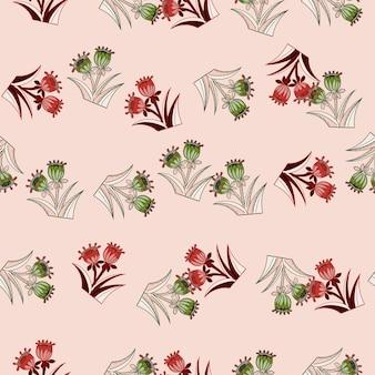 Kwiat wiosna wzór z zielonym i czerwonym losowym kwiatem dzwon wydruku. pastelowe różowe tło. projekt graficzny do owijania tekstur papieru i tkanin. ilustracja wektorowa.