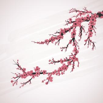 Kwiat wiśni kwiat czerwony różowy japanesse tło