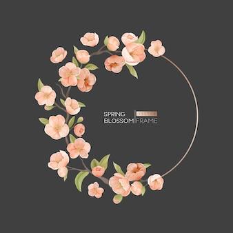 Kwiat wiśni okrągła rama, element projektu obramowania na zaproszenie na ślub, kartkę z życzeniami, szablon transparent lub plakat. realistyczne wiosenne kwiaty, liście i gałąź na ciemnym tle. ilustracja wektorowa
