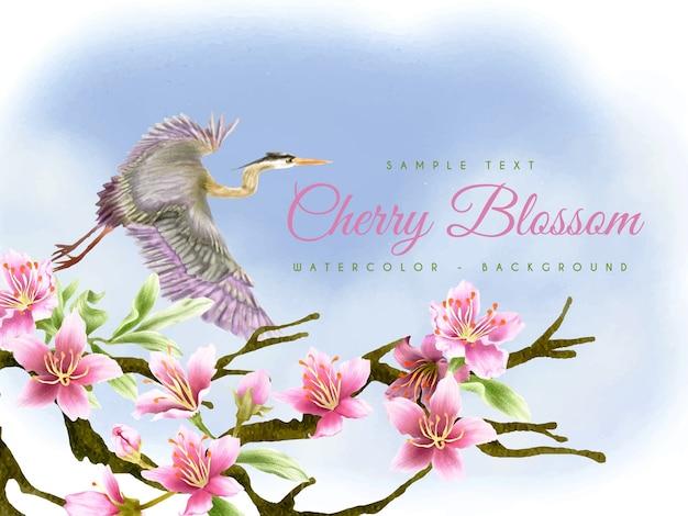 Kwiat wiśni z tłem ptaka czapla