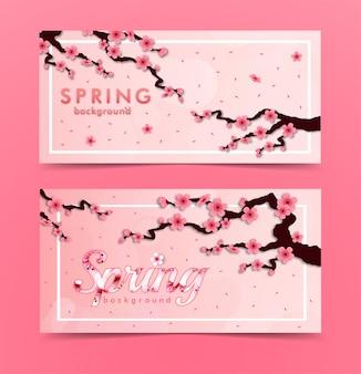 Kwiat wiśni. zestaw transparent różowy sakura