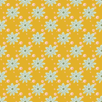Kwiat wzór z ornamentem kształty niebieskie kwiaty. żółte jasne tło. płaski nadruk wektorowy na tekstylia, tkaniny, opakowania na prezenty, tapety. niekończąca się ilustracja.