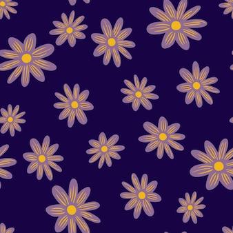 Kwiat wzór z ornamentem losowe kwiaty stokrotka. ciemne fioletowe tło. rozkwitaj kształty. projekt graficzny do owijania tekstur papieru i tkanin. ilustracja wektorowa.