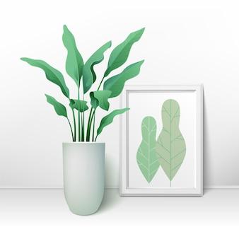 Kwiat z dużymi liśćmi w doniczce i dużą ramką na zdjęcia. projektowanie wnętrz. ilustracja wektorowa