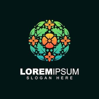 Kwiat z liści szablon projektu logo