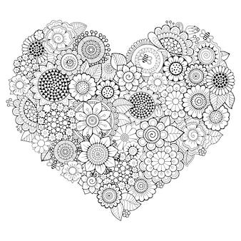 Kwiatki doodle w kształcie serca.