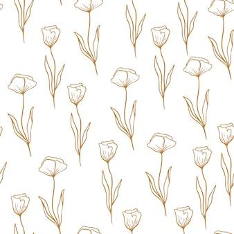 Kwiatki maku w stylu linii. kwiatowy bezszwowe ręcznie rysowane ornament. nowoczesny wzór powtarzać z kwiatami. mak słodkie tapety, ilustracji wektorowych na różowym tle.