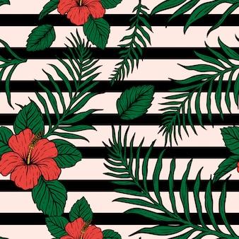 Kwiatki tropikalne liście ręcznie rysować vintage design
