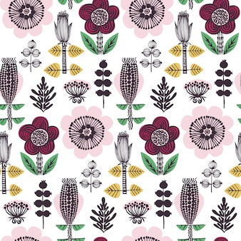 Kwiatki w stylu skandynawskim. ręcznie rysowane elementy żółty, różowy, czerwony, zielony