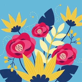 Kwiatów i liści ogrodowa ilustracja