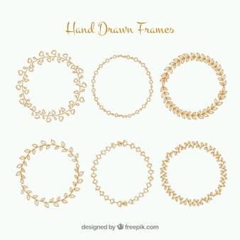 Kwiatów ręcznie rysowane ramki okrągłe