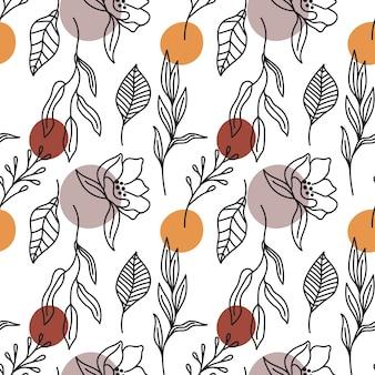Kwiatowa czeska tekstura z botaniczną grafiką liniową boho wzór z liśćmi i kwiatami