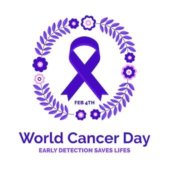 Kwiatowa fioletowa wstążka światowego dnia raka