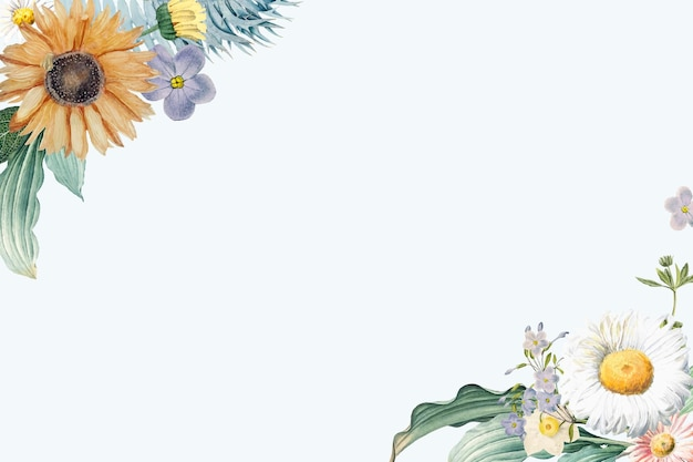Kwiatowa granica rocznika akwarela
