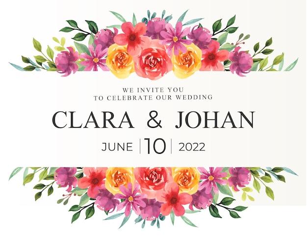 Kwiatowa granica z akwarelą na zaproszenie na ślub