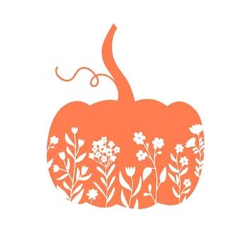 Kwiatowa ilustracja dyni pomarańczowa dynia z polnymi kwiatami