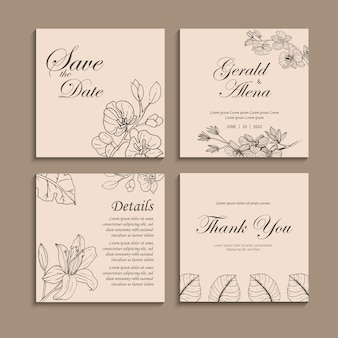 Kwiatowa karta ślubna kwiatowy tło zaproszenie zestaw szablonów