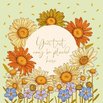 Kwiatowa kompozycja wektorowa na plakat z życzeniami lub zaproszeniem z okrągłym obszarem tekstowym