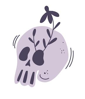 Kwiatowa kwitnąca czaszka. ludzka czaszka i wieniec z kwiatów. ilustracja do medycyny, druku, tatuażu, dekoracji halloween. z gniazd czaszki wyrosły kwitnące gałęzie. ilustracja wektorowa