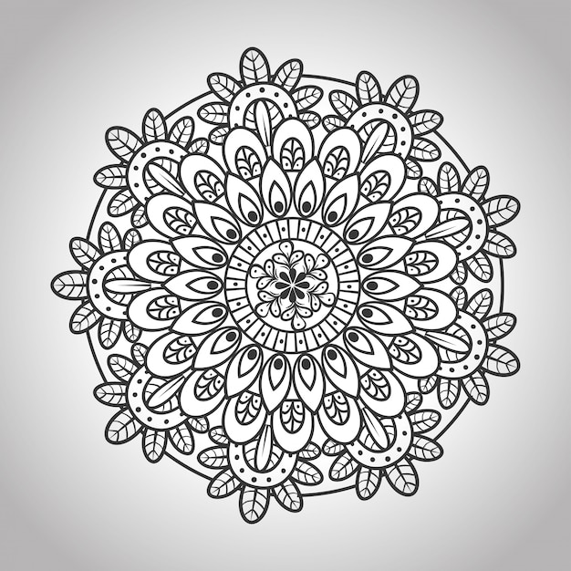 Kwiatowa mandala na szarym tle, luksusowa mandala vintage, ozdobna dekoracja