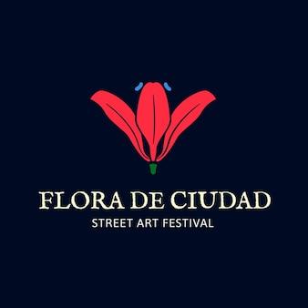 Kwiatowa minimalna ilustracja logo dla brandingu