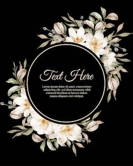 Kwiatowa okrągła ramka z białego kwiatu magnolii