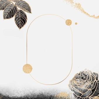 Kwiatowa owalna złota ramka