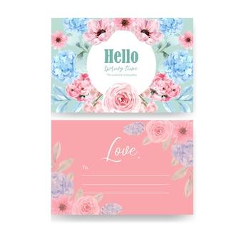 Kwiatowa pocztówka uroczy retro w stylu retro z akwarela ilustracja kwiatowy.