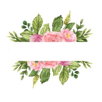 Kwiatowa prostokątna ramka z akwarelowymi różami
