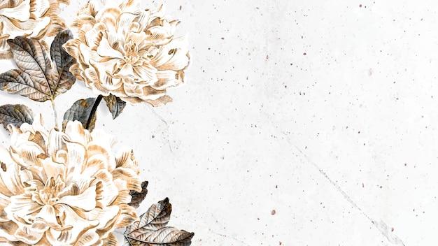 Kwiatowa pusta piwonia rama szablon reklamy społecznej wektor