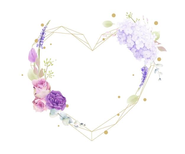 Kwiatowa rama akwarela w kształcie serca